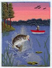 Bass Fishing Cabin Scene Set Of 2 Hand Towel Embroidery