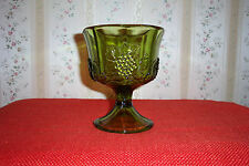 INDIANA GLASS GREEN COMPOTE GRAPE & LEAVES