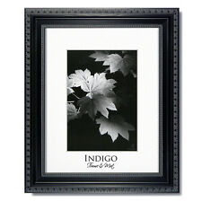 Set of 3 - 8x10 Ornate Black Photo Frames, Glass, Warm White Mats for 5x7.