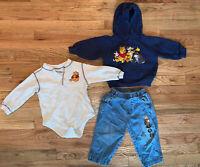 Vintage 80 90's Winnie the Pooh Baby Shirt Sweatshirt Blue Jeans SZ 2T 12-18 Mo