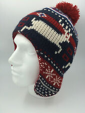 MENS NAVY RED CREAM REINDEER BOBBLE FLYING HAT ONE SIZE 0083