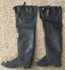 "++  SERVUS INDUSTRIAL 27"" Black Rubber Safety Steel Toe Hip Boot Sz 9 Men's"