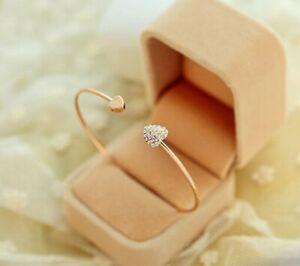 New Fashion Women Gold Rhinestone Love Heart Bangle Cuff Bracelet Jewelry Gifts