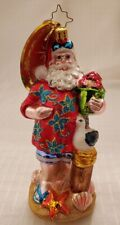 New ListingChristopher Radko Summertime Beach Themed Santa Glass Christmas Ornament