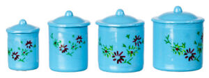 Dolls House, accessories  set of 4 blue cannisters
