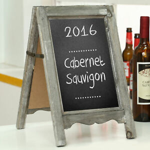 Small Wood A-Frame Double-Sided Chalkboard, Brown Table Message Board