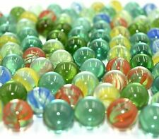 100 X Glass Marbles Clear Coloured Marble Vintage Traditional Games Kids Toys