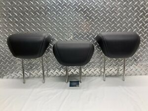 06-14 SUBARU TRIBECA REAR SEAT 2ND ROW HEADREST SET HEAD RESTS BLACK LEATHER OEM