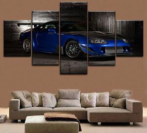 Blue Coupe 2JZ-GTE 6 Toyota Supra 5 Piece Canvas Print Wall Art