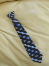 "Chaps - Boys Clip On - Blues Striped w/Blk. background Necktie - 14"" long"