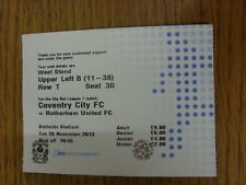 26/11/2013 Ticket: Coventry City v Rotherham United [At Northampton Town] . We t