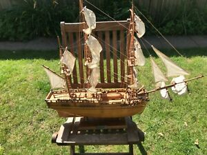 LARGE WOODEN ENDEAVOUR SAILING SHIP 31 INCHES