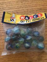 Vintage Original Bag of 15 Wales Cat Eye Catseye Marbles Bag Never Opened Japan