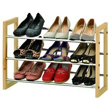 3 TIER 15 PAIR CHROME SHOE RACK STORAGE ORGANIZER EXTENDABLE WITH WOODEN SIDES