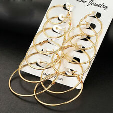 6Pair/set Women Gold Silver Metal Big Circle Large Ring Hoop Earrings Jewelry