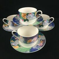 Set of 4 VTG Cups and Saucers by Christopher Stuart French Brocade Floral Green