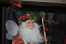 """N FOREST Santa ELF/TROLL Doll Xmas EVE Berries ROBE WINGS Green PANTS 28"""" CUTE"""