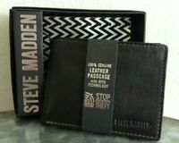 Steve Madden Men's Wallet Bifold Passcase Black Genuine Leather RFID Protection