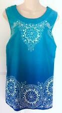 Women's Plus Size Clothes 2X 22W/24W 22/24 Blue Tank Top Shirt Blouse Jones NY