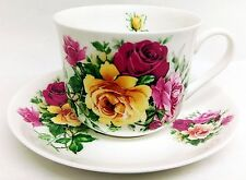 Summer Roses Large Cup & Saucer Bone China Breakfast Set Hand Decorated in UK