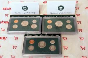 United States Mint Proof Sets 1995 1996 1997 with COA