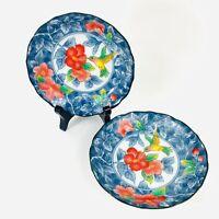 "2 Hummingbird Small Porcelain Bowls Andrea by Sadek Japan  4 1/2"""