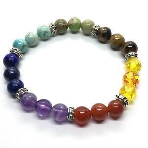 Chakra Bracelet (Elasticated) with Mixed Beads - 7mm beads