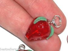 1pc Glass Strawberry dangle pendant Lampwork fruit bead bracelet small charm