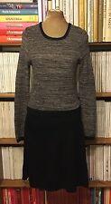 EDINA RONAY 100% merino wool illusion fit flare jumper sweater dress UK 14 US 10