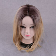Women Fashion Ombre Blonde Short Straight Hair Wig Ladies Body Cosplay Wigs