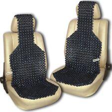 Zento Deals 2x Black Natural Wooden Beaded Seat Massage Cushion Cool Ventilation