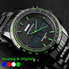 Men's Ananlog&Digital Black Stainless Steel Military Date LED Sports Wrist Watch