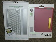 BLUETOOTH TABLET KEYBOARD - APPLE IPAD 2 Silver Metal + Pink Clip On Rear Cover