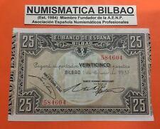 BILBAO EUZKADI 25 PESETAS 1937 BANCO HISPANO AMERICANO @RARO@ Pick S.563 EUSKADI