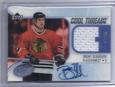 05-06 2005-06 UD ICE BRENT SEABROOK COOL THREADS JERSEY AUTO RC 35/35 BLACKHAWKS