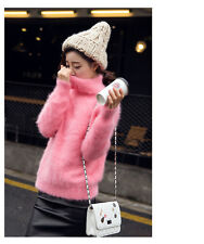 100%  Knitted mink cashmere sweater women fashion  pullover jacket