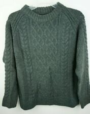 Women`s Jumper Crew Neck Cable Knit Size UK 10 Charcoal