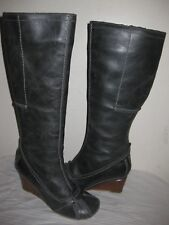 FLY GIRL  Leather Knee High Wedge Gray  Boots Women's Shoes Size 37 / 6.5