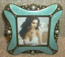 "Vintage Miniature Art Deco Romantic Aqua Enamel Pearl Jewel Brass Frame 3"" X 3"""