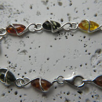 Natural, Multi-Color BALTIC AMBER Bracelet, 925 STERLING SILVER (Poland) #0067