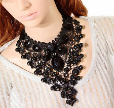 Victoriano Gótico Collar De Piedras Preciosas De Encaje Vintage Lazo de la cinta de Gargantilla Colgante Collar