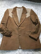 Pioneer Wear Mens 42 Sport Coat Corduroy Western 2 Tone Brown Jacket Blazer