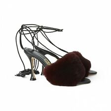 **LIUDMILA** Fur Leather Tasseled Sandals Heels Shoes **CELEBRITY OWNED**