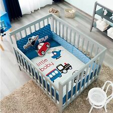 TRANSPORTATION MACHINES BABY BOYS CRIB BEDDING NURSERY 6 PCS 100% COTTON