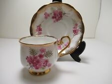 ROYAL ALBERT ENG CHINA CUP&SAUCER WHITE WITH PRETTY PINK FLOWERS HEAVY GOLD GILT