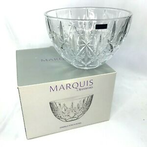 """Marquis by Waterford Crystal Sparkle 9"""" Bowl Clear Etched Glass Serving in Box"""