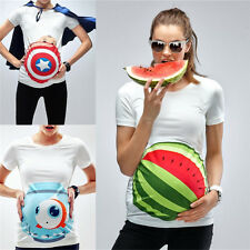 Maternity White Tee Casual Tops 3D Printing Watermelon Pregnant Woman's T-Shirt
