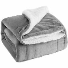 Grey Large Soft Warm Plain Fleece Sherpa Throw Sofa Bed Blanket Snug Double Size