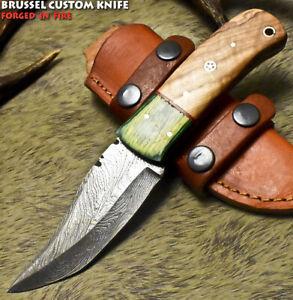 Brussel Rear Handmade Damascus Steel Olive Wood Art Hunting Skinner Knife