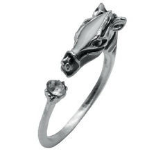 Fashion Animal Rings Horse Head Crystal Silver Band Women Jewelry Creative